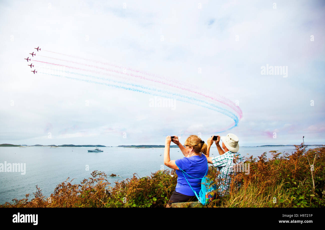 The red arrows in the Isles of Scilly,Cornwall,UK - Stock Image