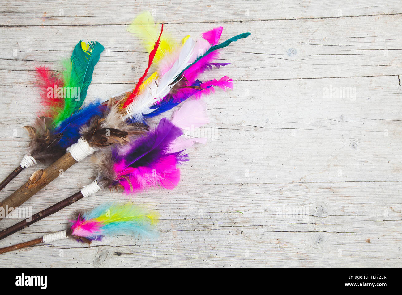 colorful feathers background - Stock Image