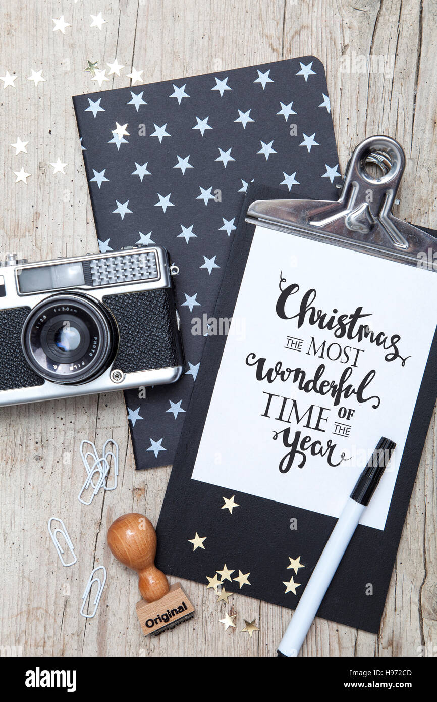 Creative Christmas Card with an old photo camera Stock Photo ...