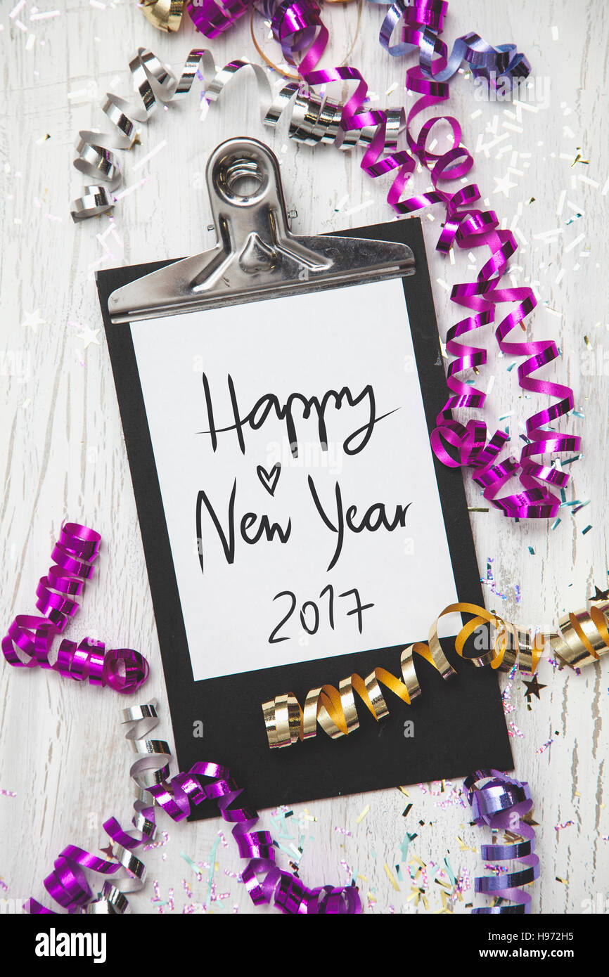 New Years Eve Background with white card - Stock Image