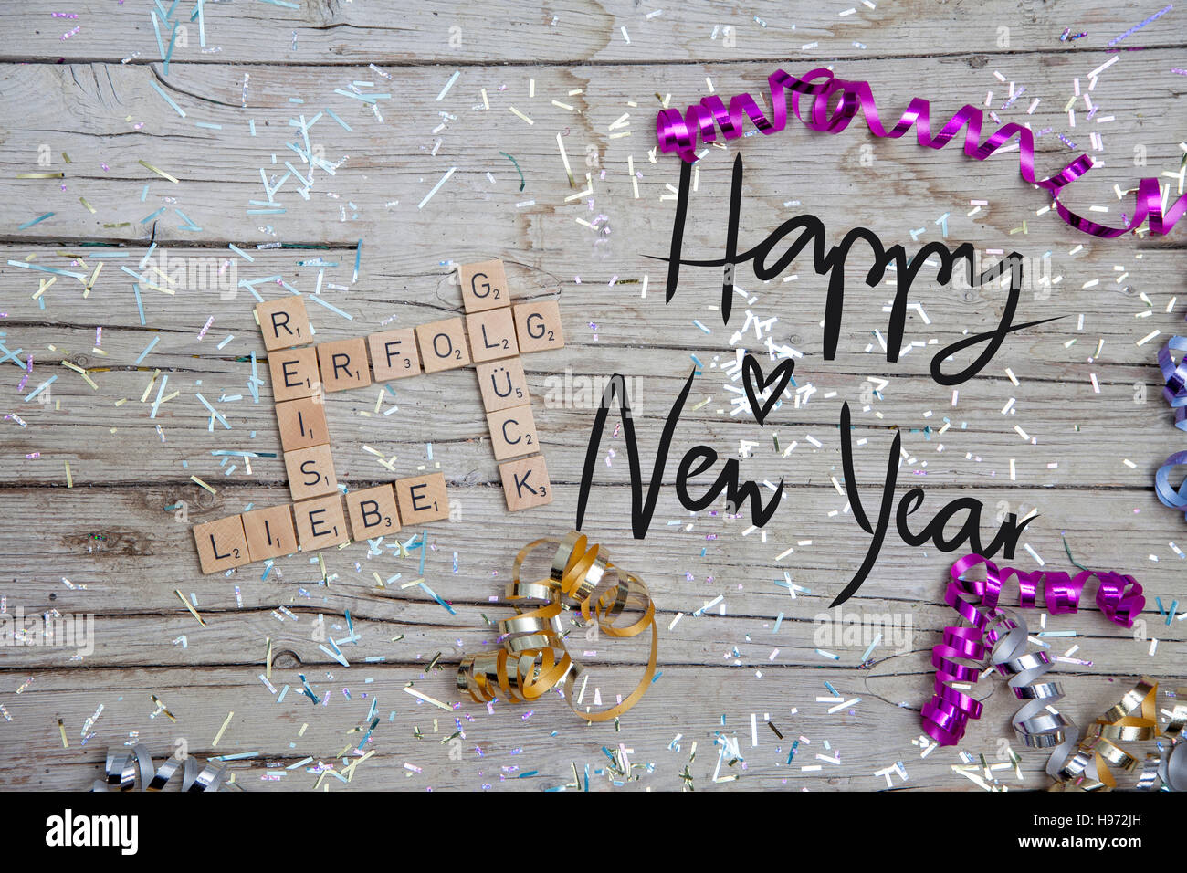 New Years Resolutions on wood Background Stock Photo