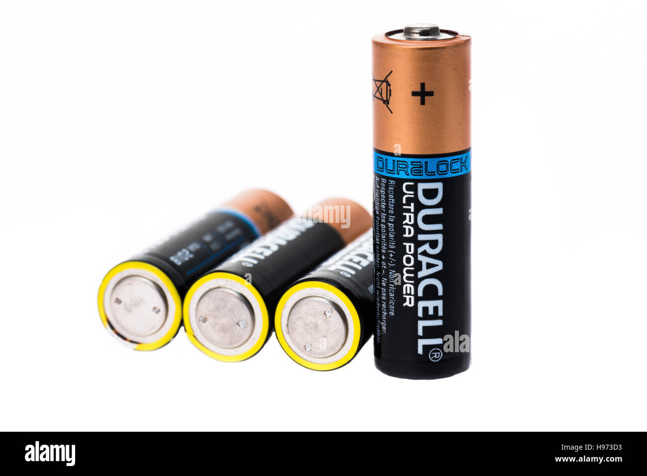 Duracell batteries on a white background - Stock Image