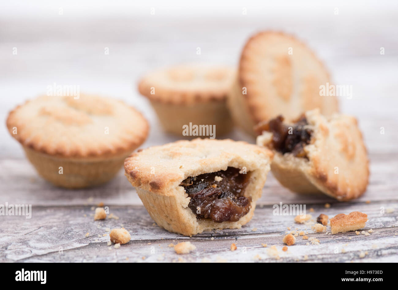 Christmas mince pies - shallow depth of field - Stock Image