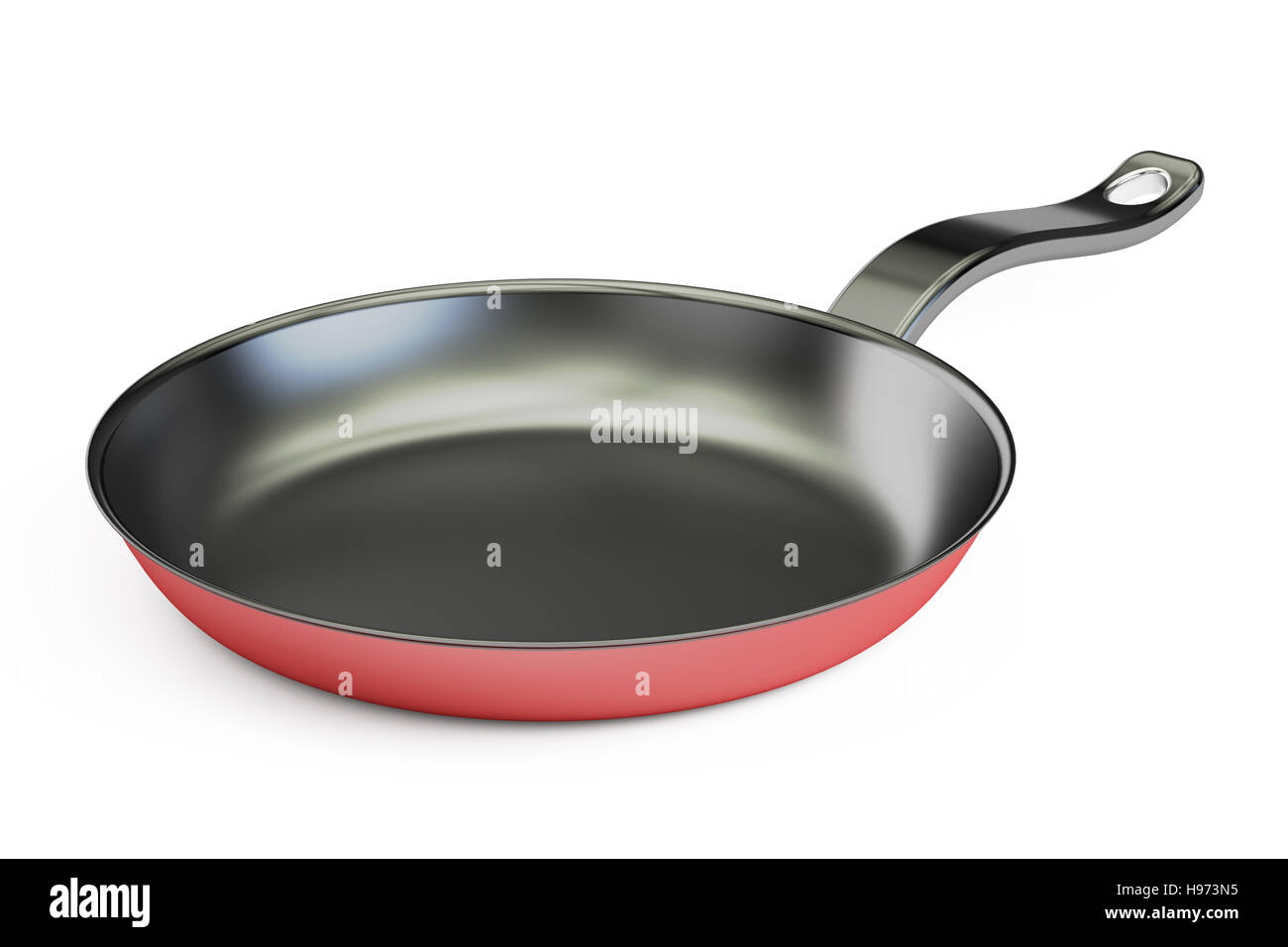 Teflon frypan closeup, 3D rendering isolated on white background - Stock Image