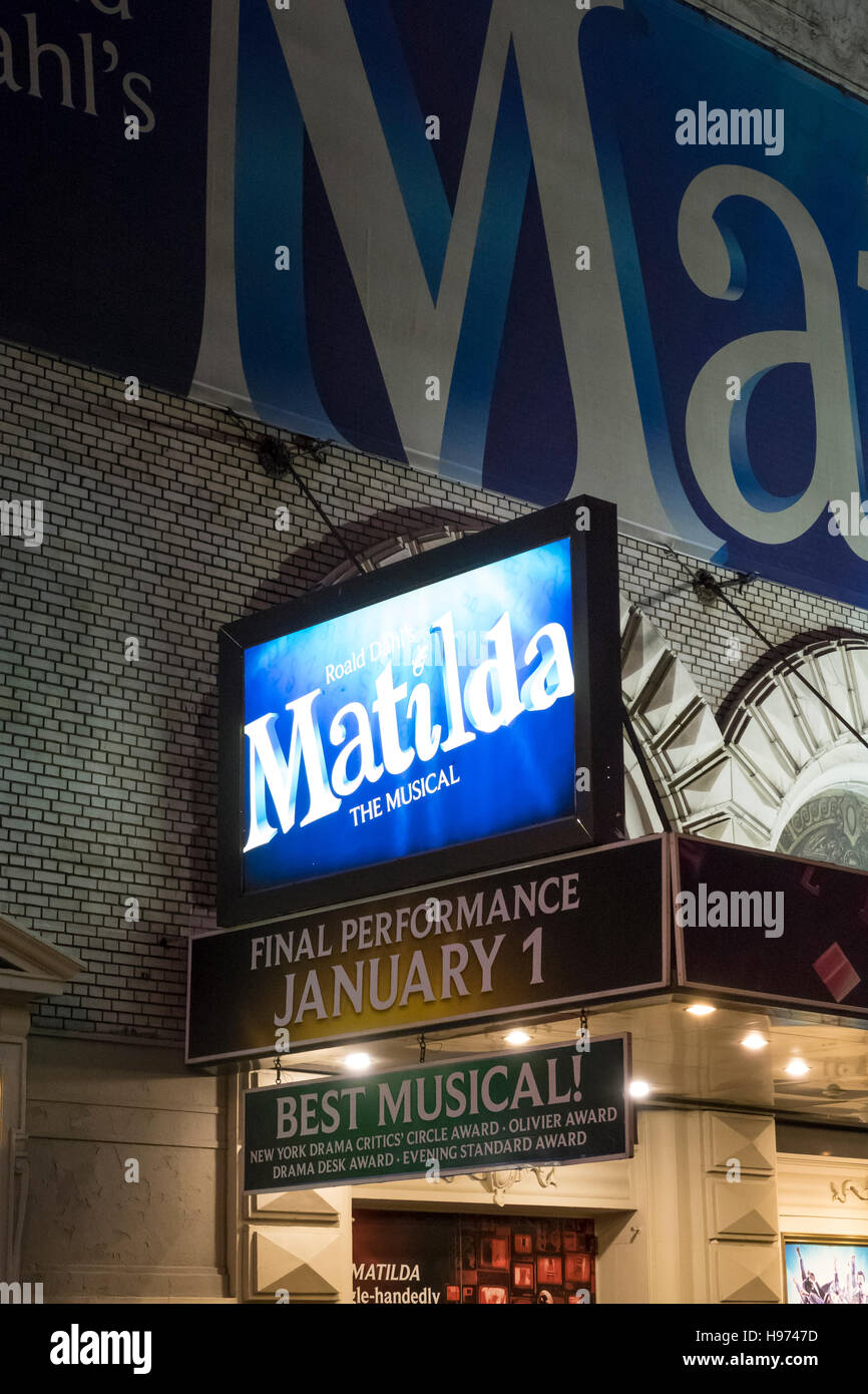 Matilda The Musical at the Shubert Theartre in New York City - Stock Image