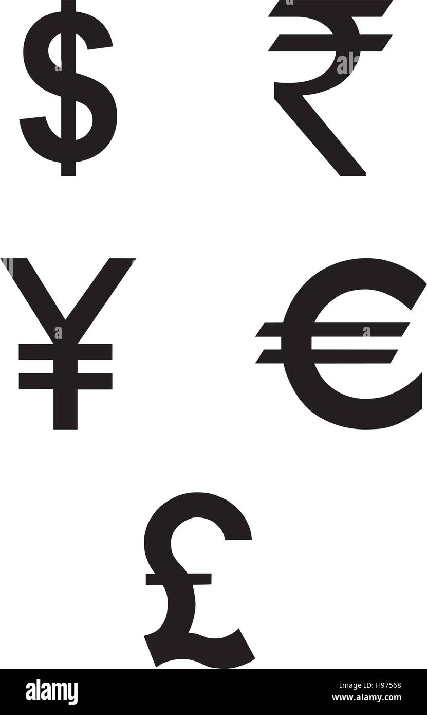 Currencies symbol icons set. Vector - Stock Vector