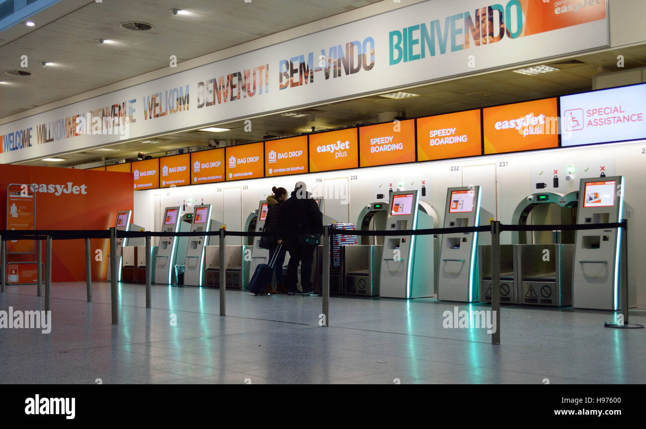 Easyjet check-in area at Gatwick Airport, UK. - Stock Image