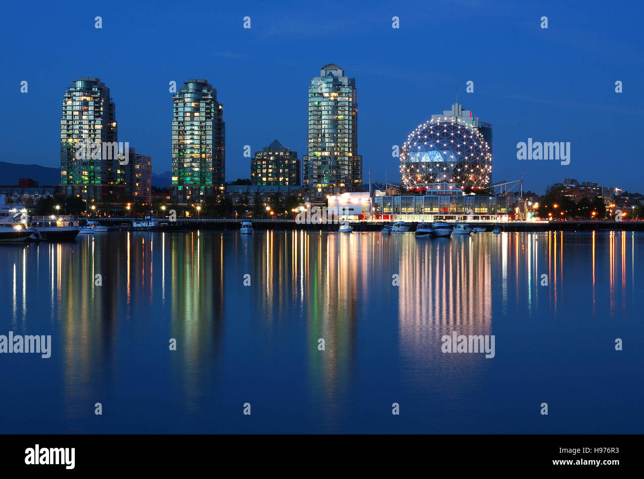 False Creek and Science World in the blue hour, Vancouver, Canada - Stock Image