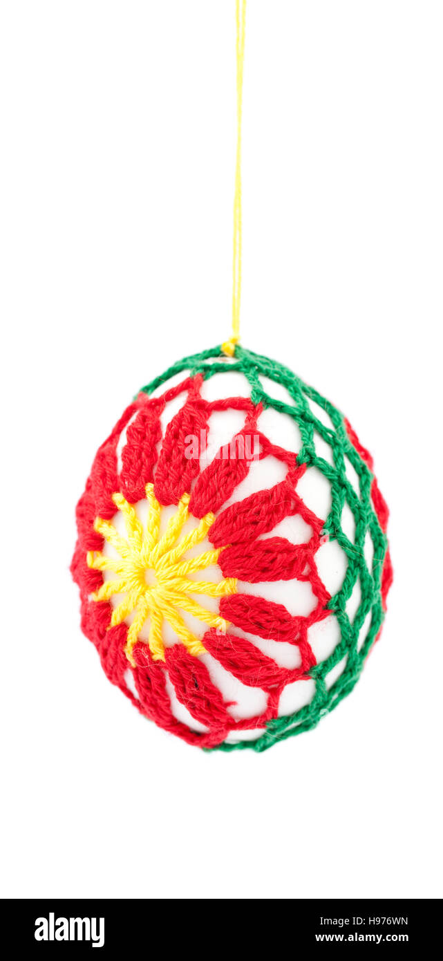 colorful egg hand made on white background - Stock Image