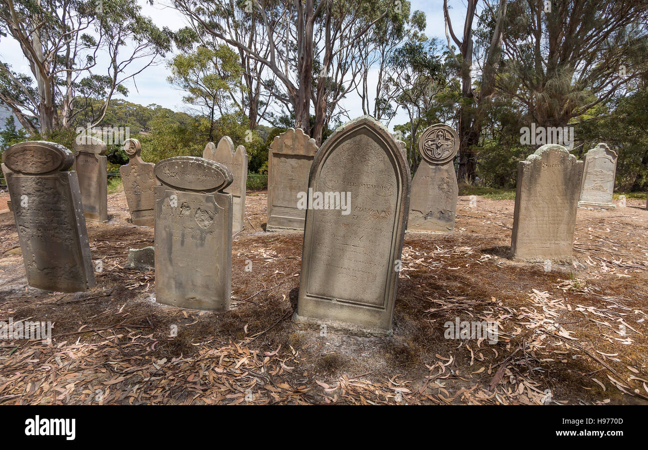 Old, abandoned gravestones on the Isle of the Dead, Port Arthur, Tasmania, containing convicts and staff from the - Stock Image