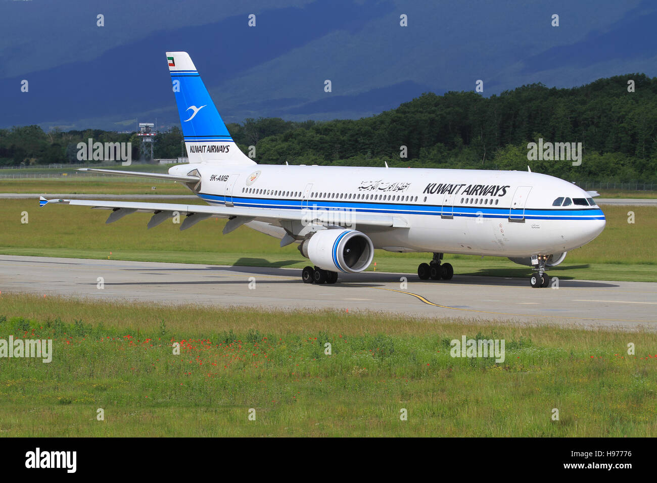 Genf/Switzerland August 5, 2015: Kuwait Air Airbus A310 at Genf Airport. - Stock Image