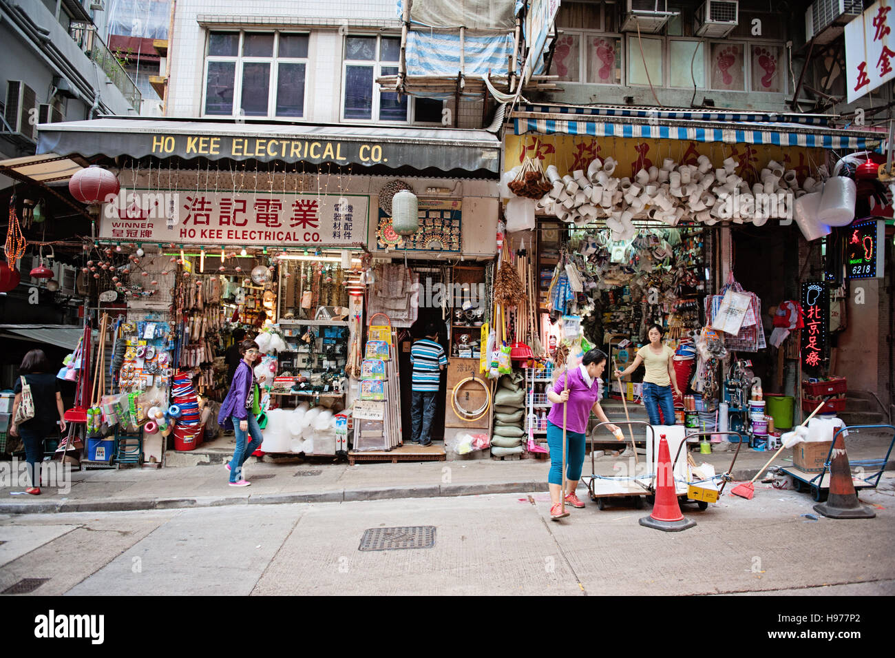 Hong Kong street scene, Wellington Road, with stores and construction - Stock Image