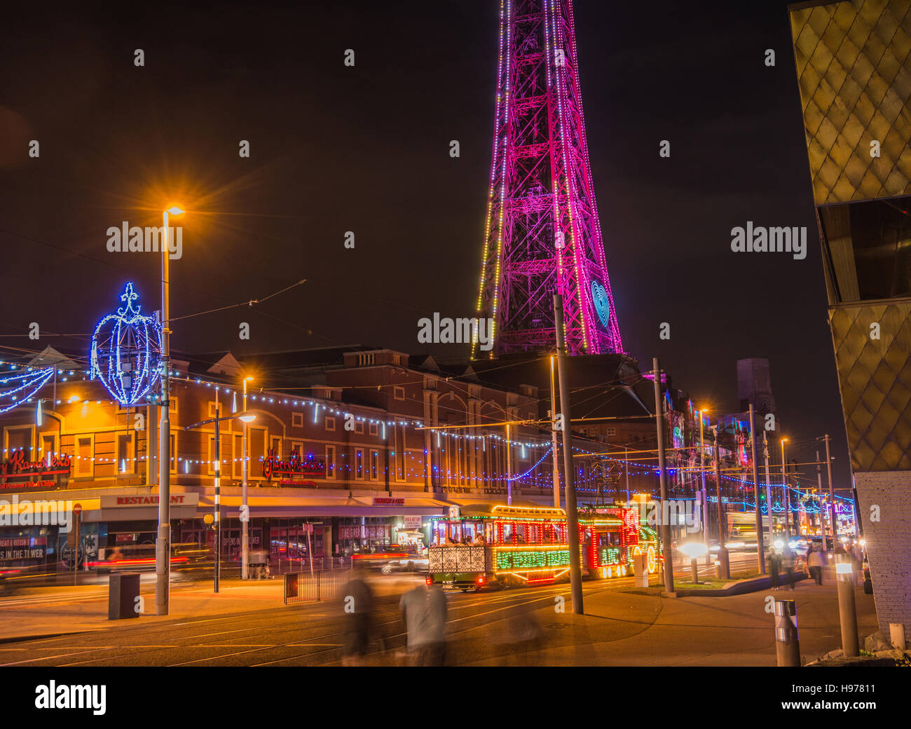 Blackpool lights color glowing  Streaking  light Ray  Boswell - Stock Image
