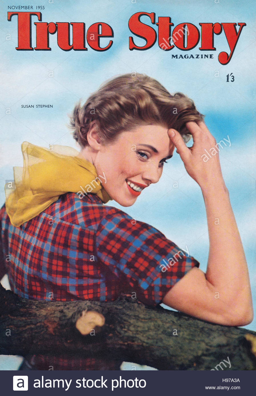 November 1955 cover of True Story magazine featuring actress Susan Stephen - Stock Image