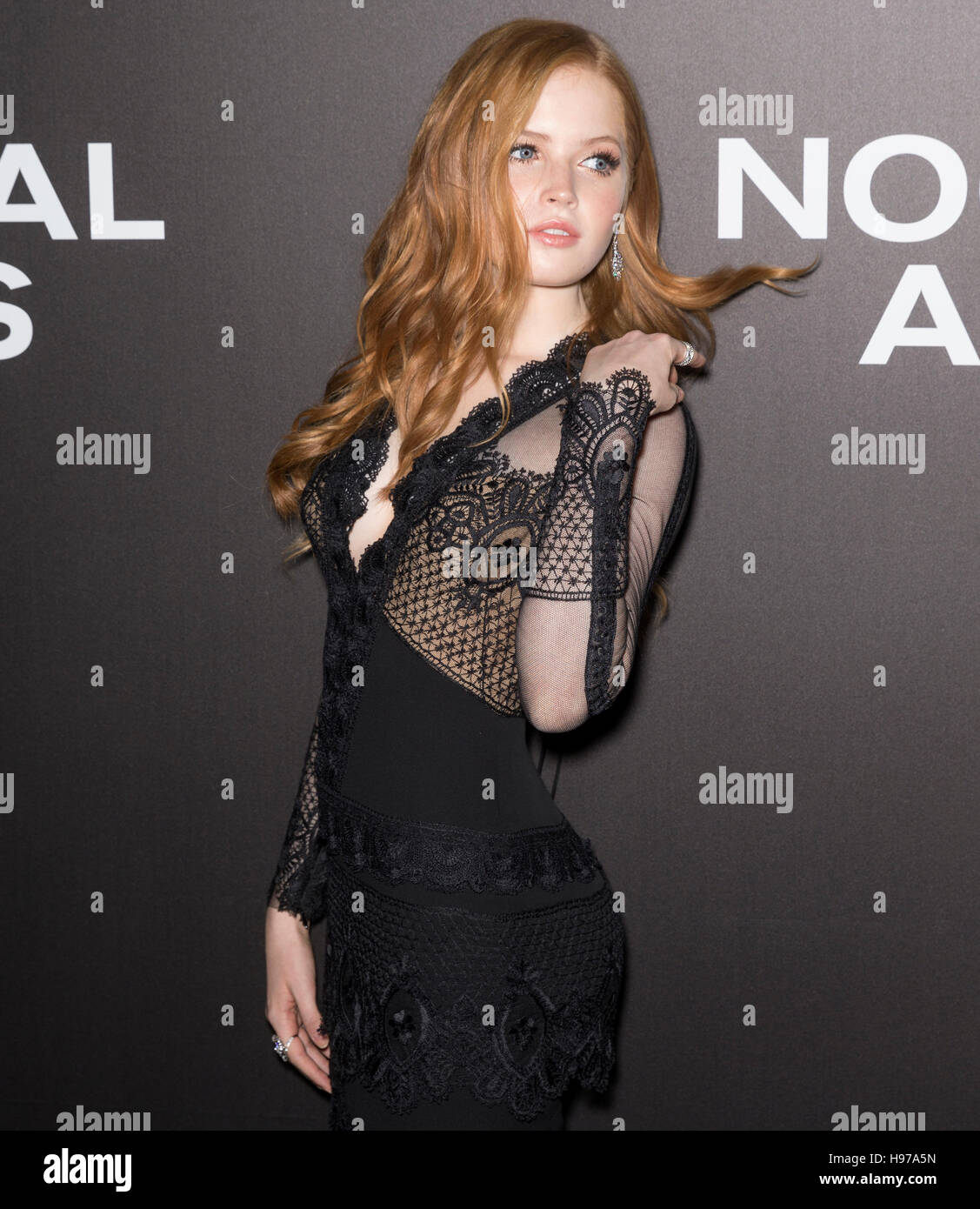 New York City, USA - November 17, 2016: Actress Ellie Bamber attends the 'Nocturnal Animals' New York premiere - Stock Image