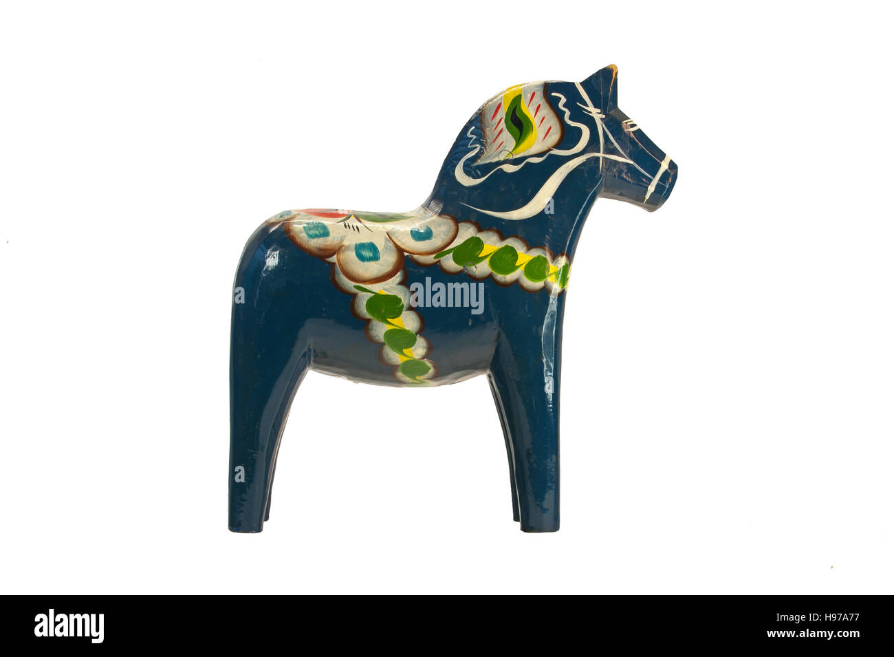 A more modern and blue Dala (Dalecarlian) Horse isolated on a white background. - Stock Image