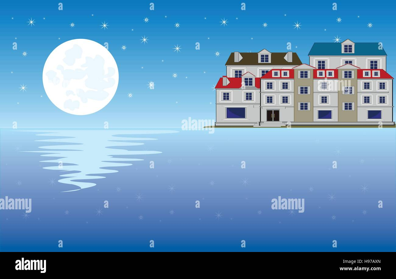 Moon on ocean and city - Stock Vector