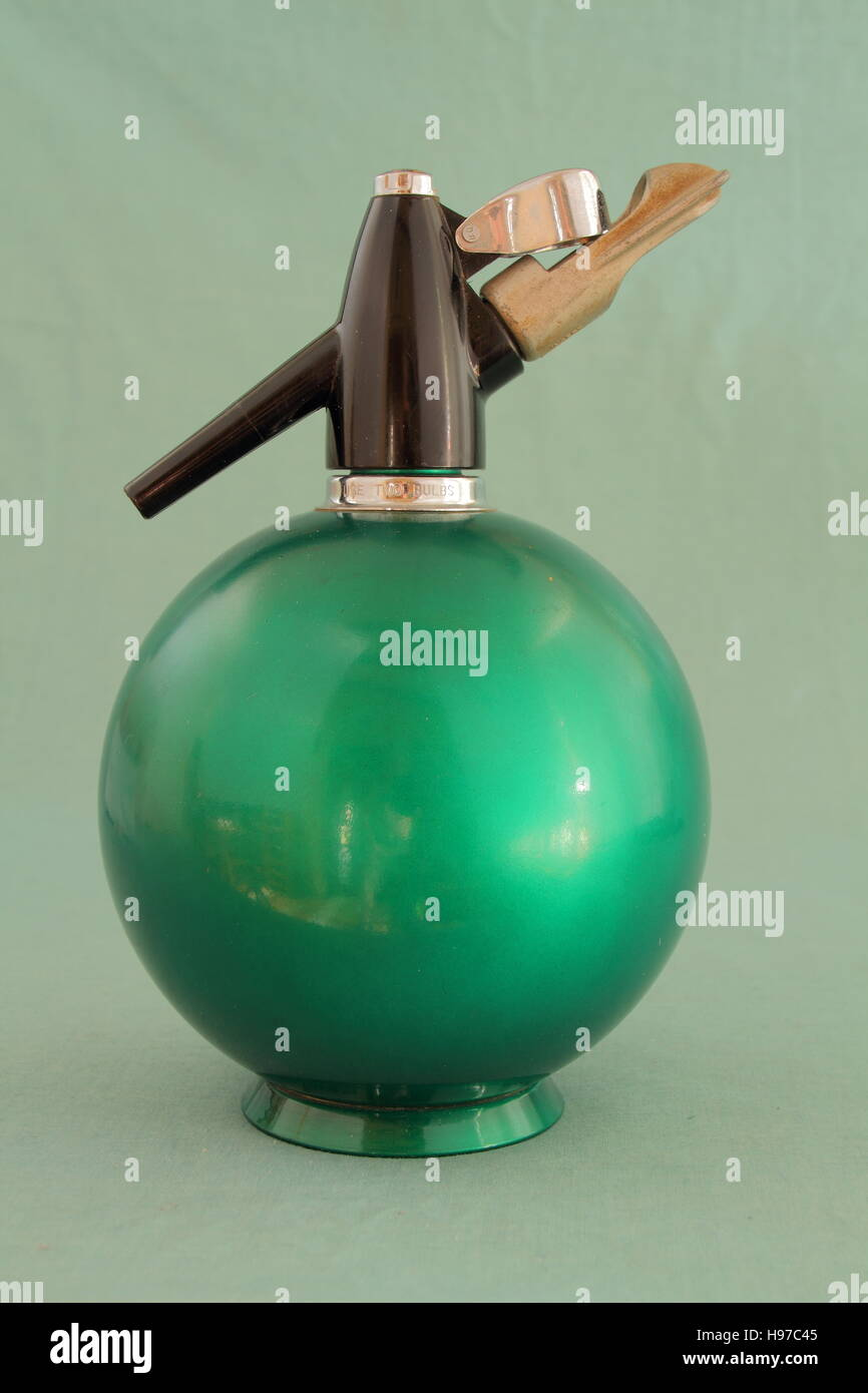 A retro soda siphon isolated on a clear background image in landscape format with copy space - Stock Image