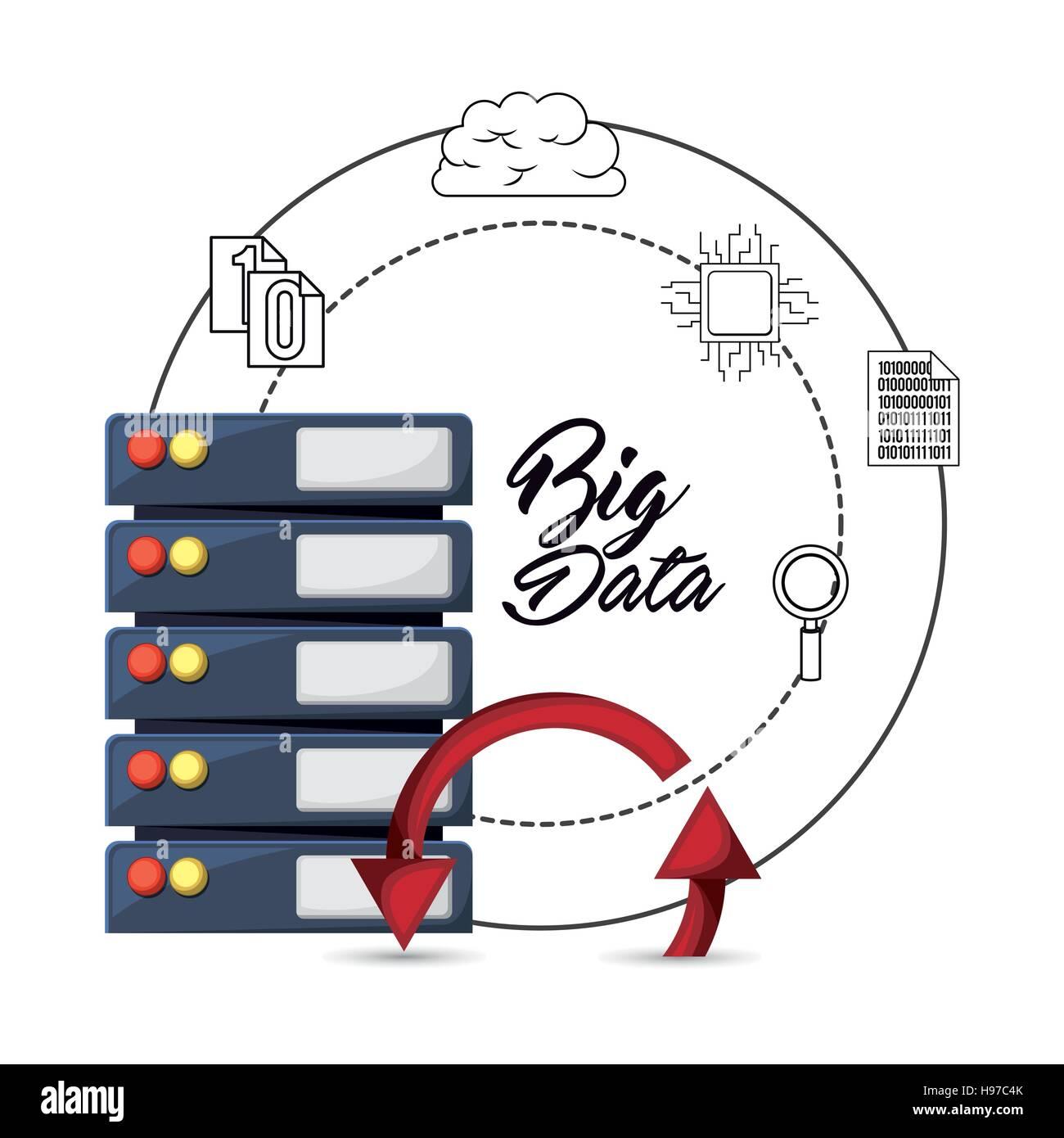 big data related icons image - Stock Image