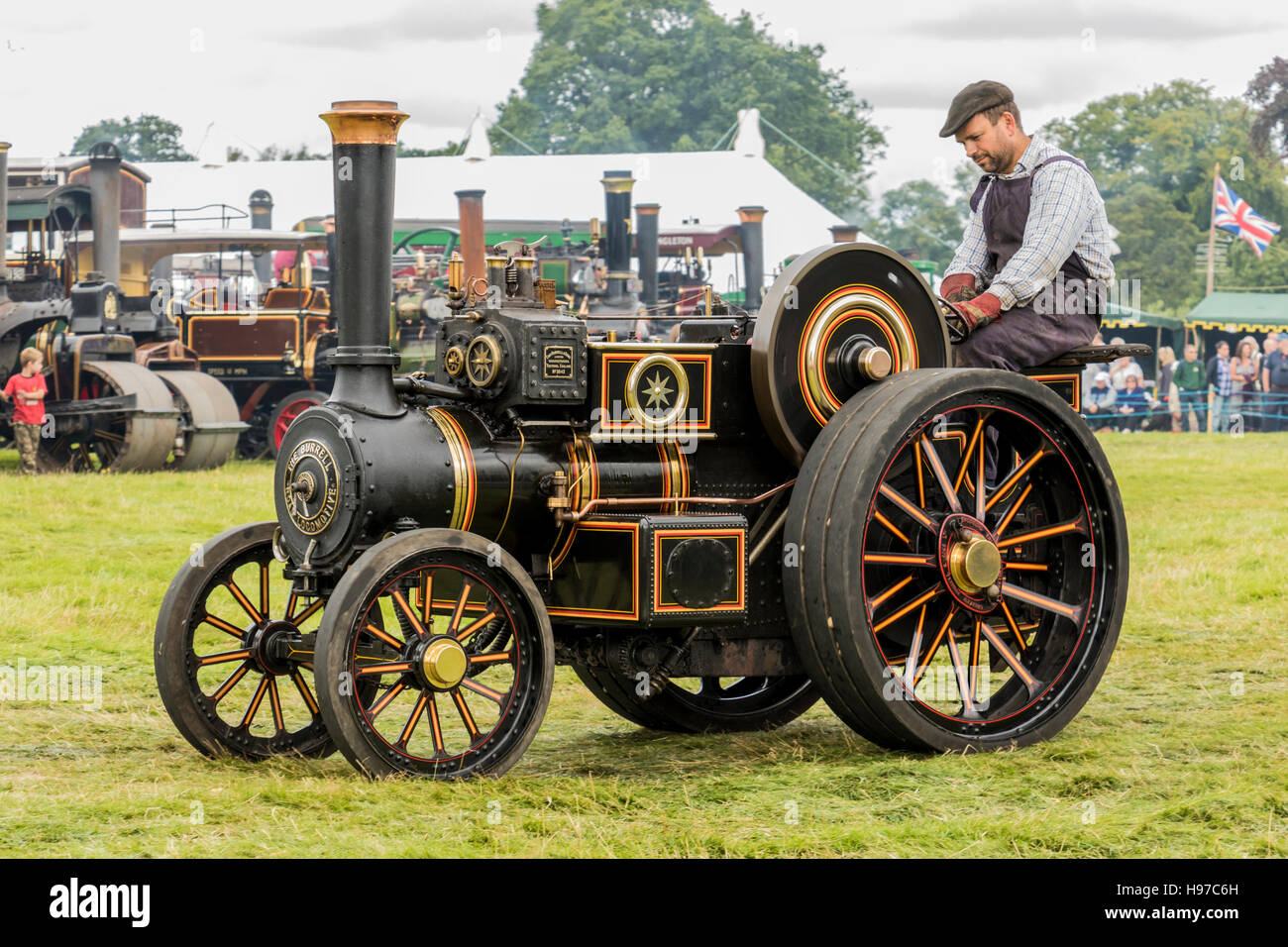 steam traction engine on display to public at Astle Park Traction Engine Rally Chelford Cheshire England - Stock Image