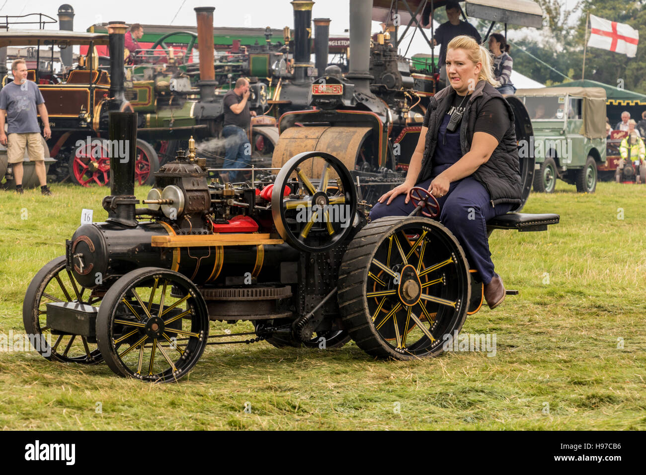 Miniature steam traction engine on display to public at Astle Park Traction Engine Rally Chelford Cheshire England - Stock Image
