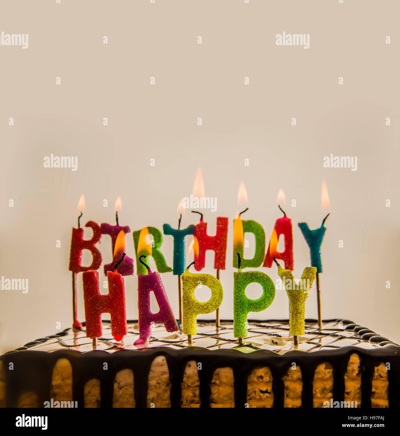 Birthday Chocolate Cake Burning Candle Stock Photos Birthday