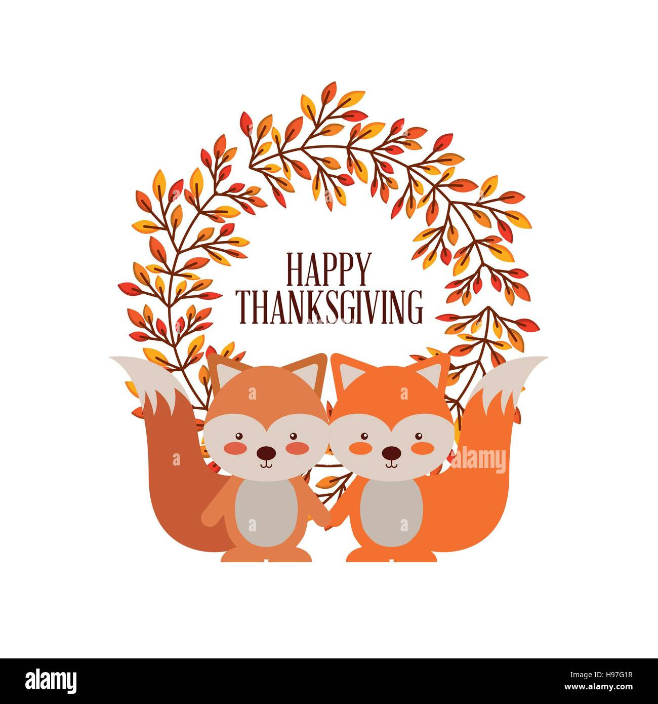Happy thanksgiving card with decorative wreath and couple of cute happy thanksgiving card with decorative wreath and couple of cute foxes over white background colorful design vector illustration m4hsunfo