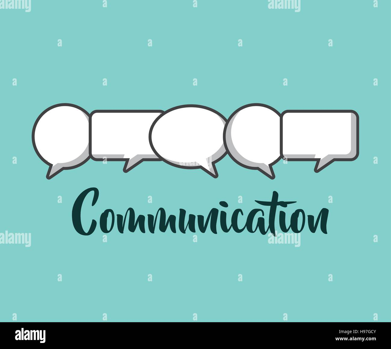 different types communication bubbles over blue background