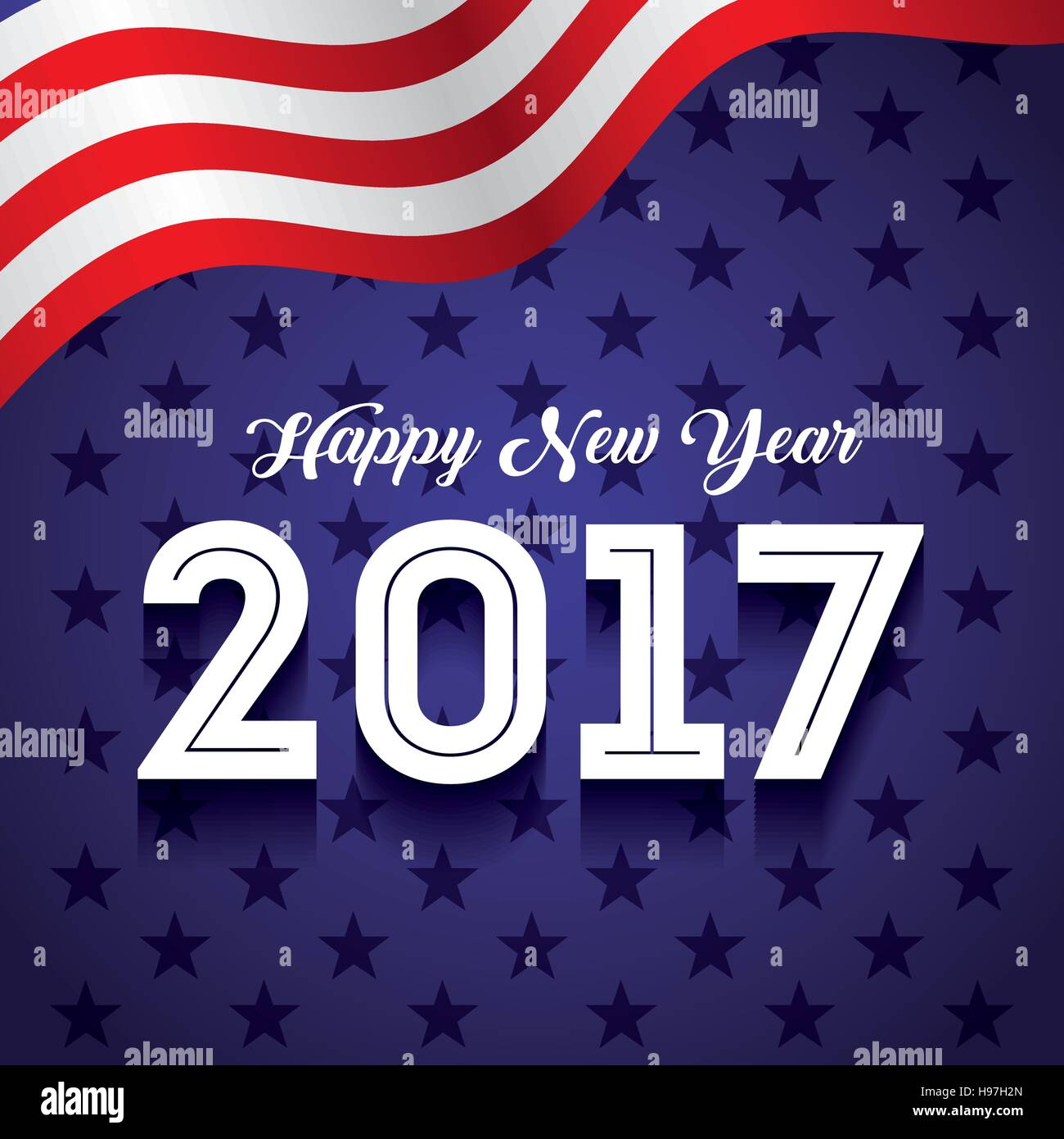happy new year card with usa concept colorful design vector illustration