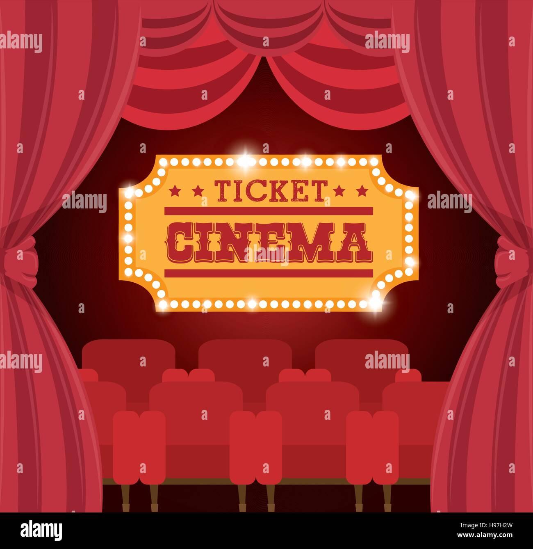 theater ticket cinema golden vector illustration eps 10 - Stock Image