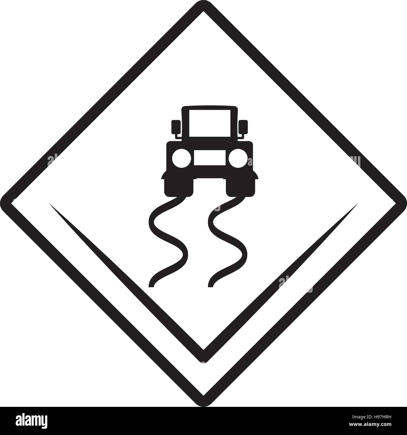 slippery road traffic signal - Stock Image