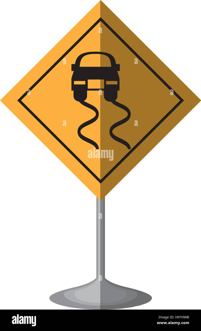 slippery road traffic signal - Stock Vector