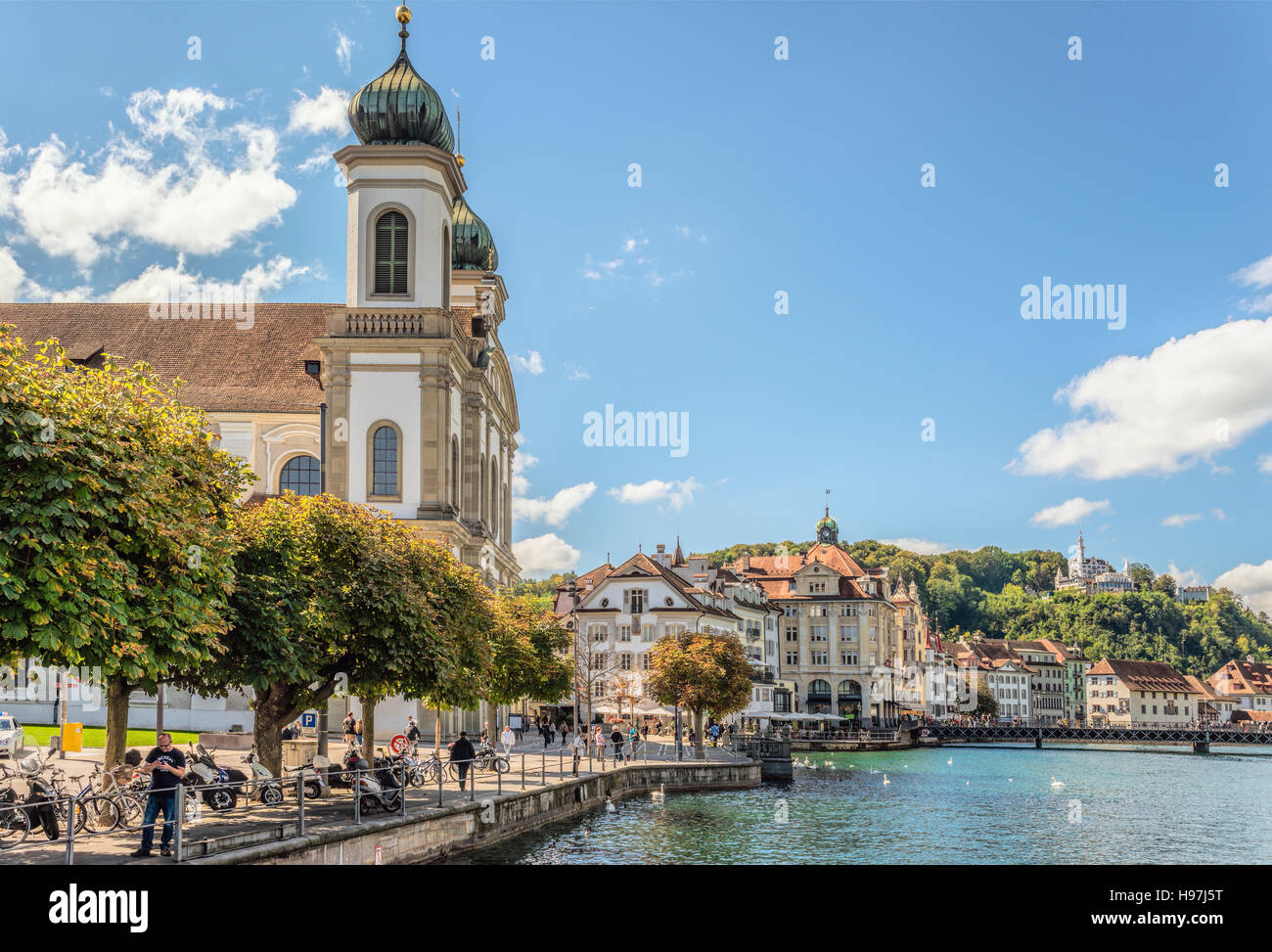 Jesuit Church in the historical old town of Lucerne in Switzerland. Its built between 1666 bis 1677 and is one of - Stock Image
