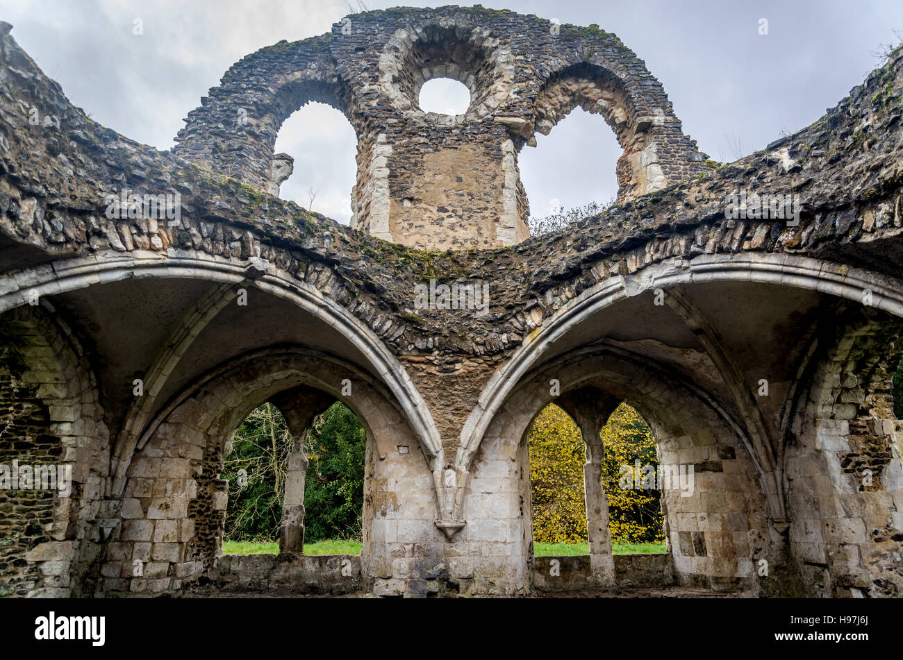 Waverley Abbey, ruins of the first Cistercian monastery in England, Farnham, Surrey, UK - Stock Image