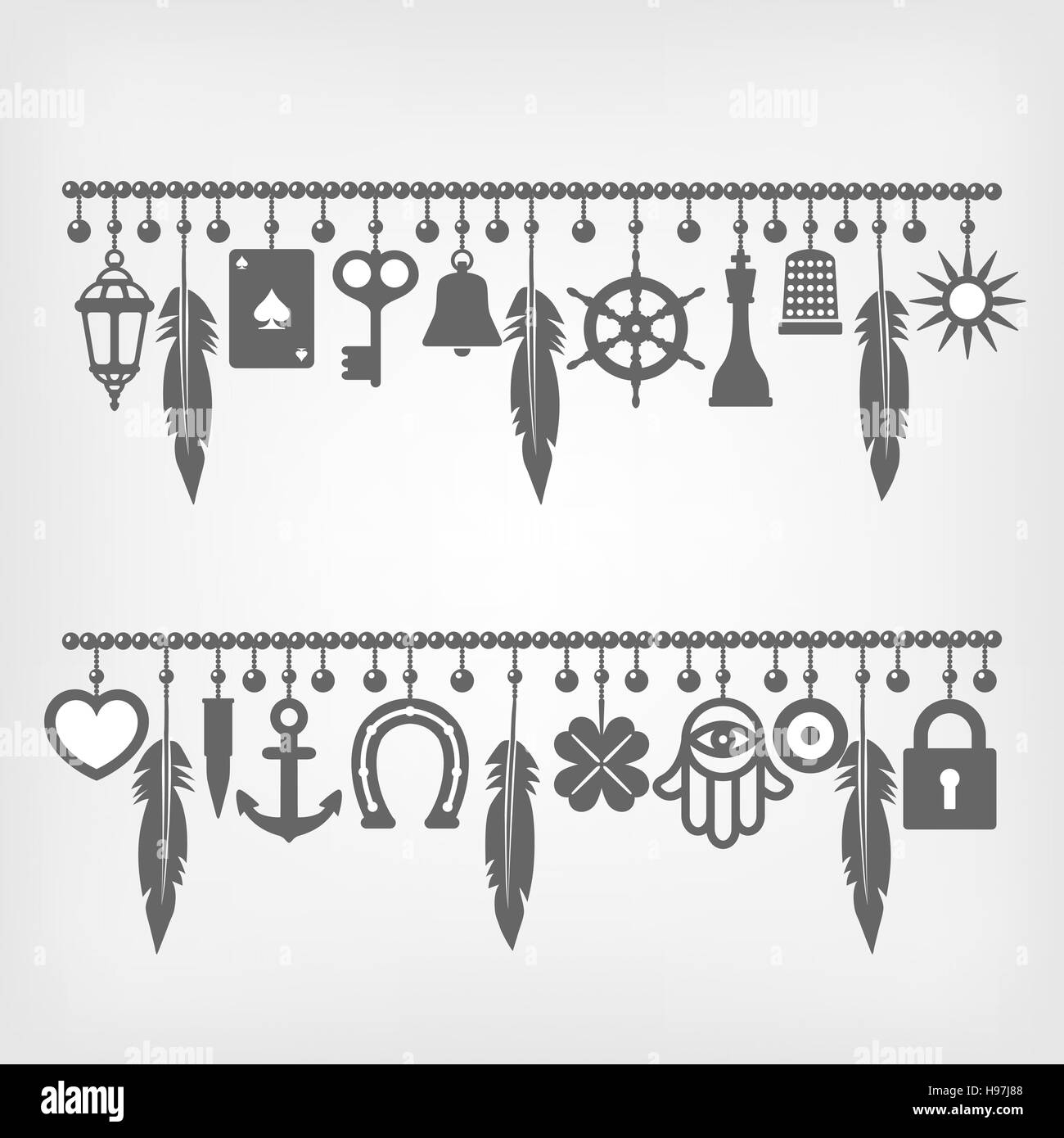 Charm Bracelets With Symbols Of Good Luck Vector Illustration Eps