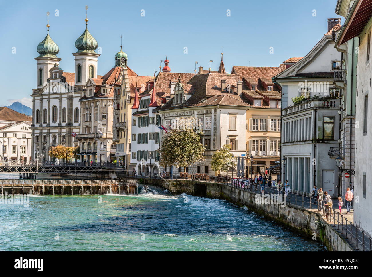 Jesuit Church in the historical old town of Lucerne in Switzerland. Its built between 1666 bis 1677. - Stock Image