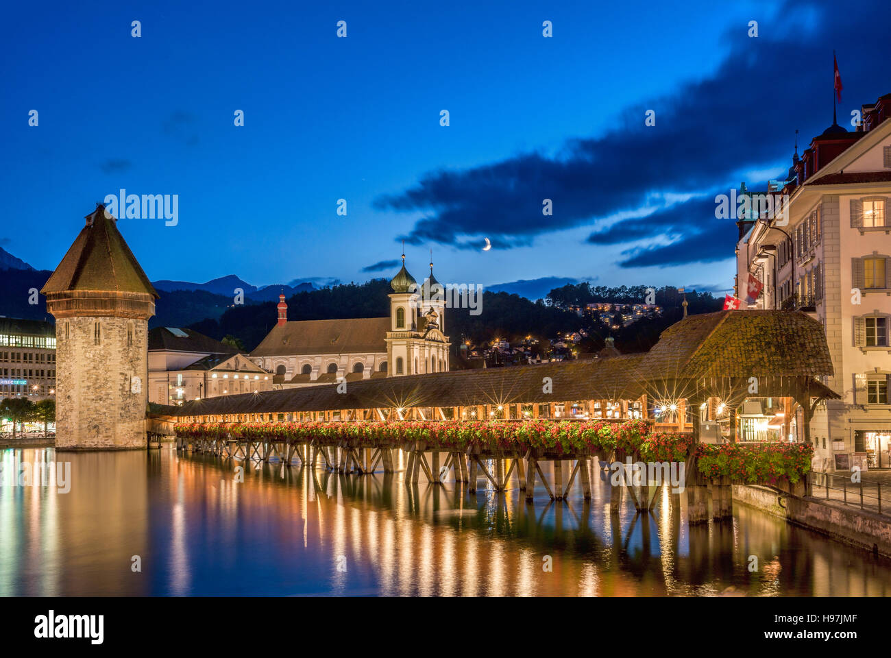 Historical Chapel Bridge, a landmark at the city of Lucerne at the Lake Lucerne in Central Switzerland. - Stock Image