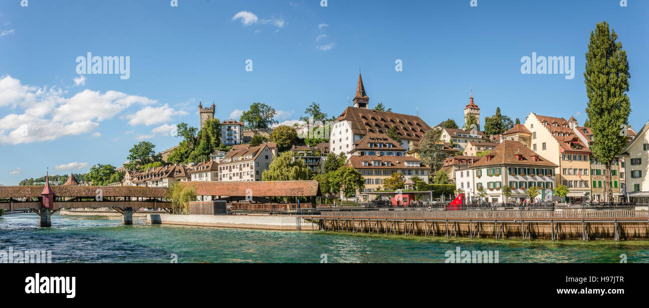 Reuss River and Musegg Wall at the old town of Lucerne, Switzerland |  Fluss Reuss und Musegg Mauer in der Altstadt - Stock Image