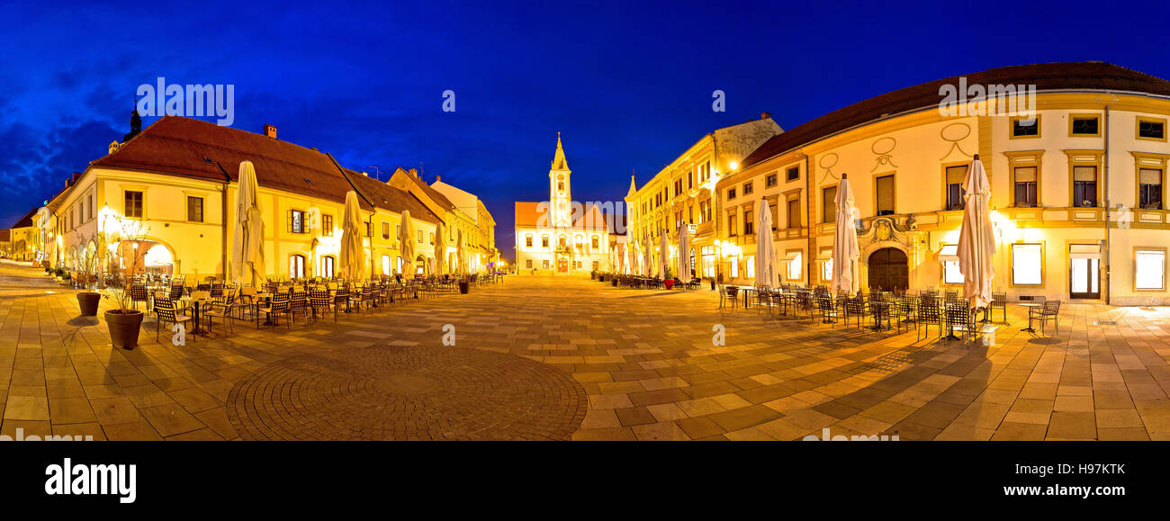 Town of Varazdin central square panorama, baroque town in northern Croatia - Stock Image