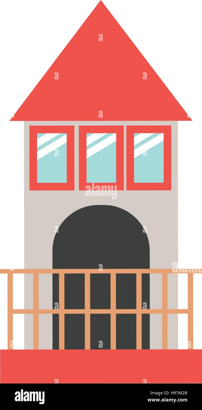 full color with Tower of Lighthouse last floor vector illustration - Stock Vector