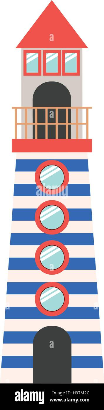 full color with Tower of Lighthouse vector illustration - Stock Vector