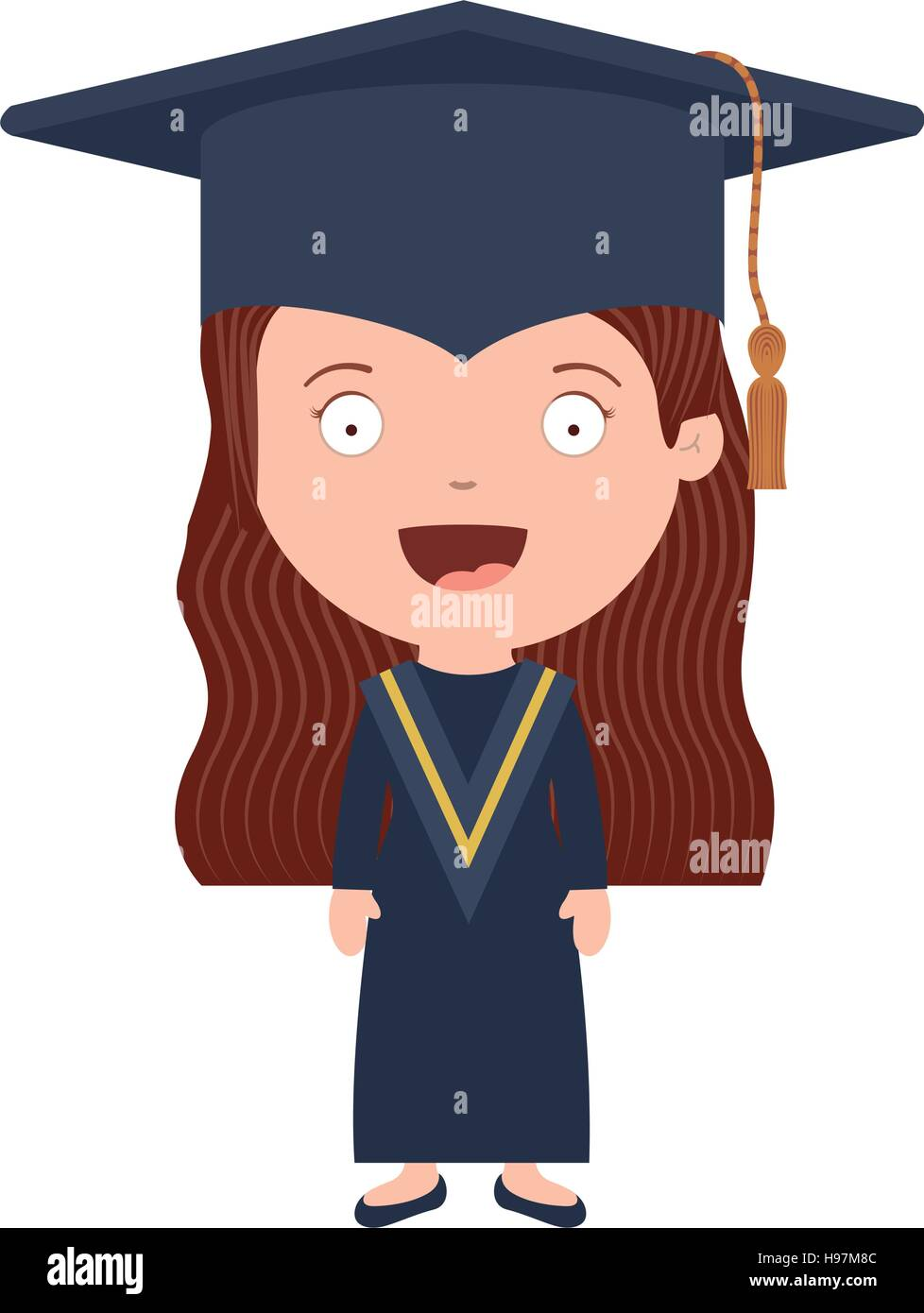 avatar girl with graduation outfit vector illustration stock vector