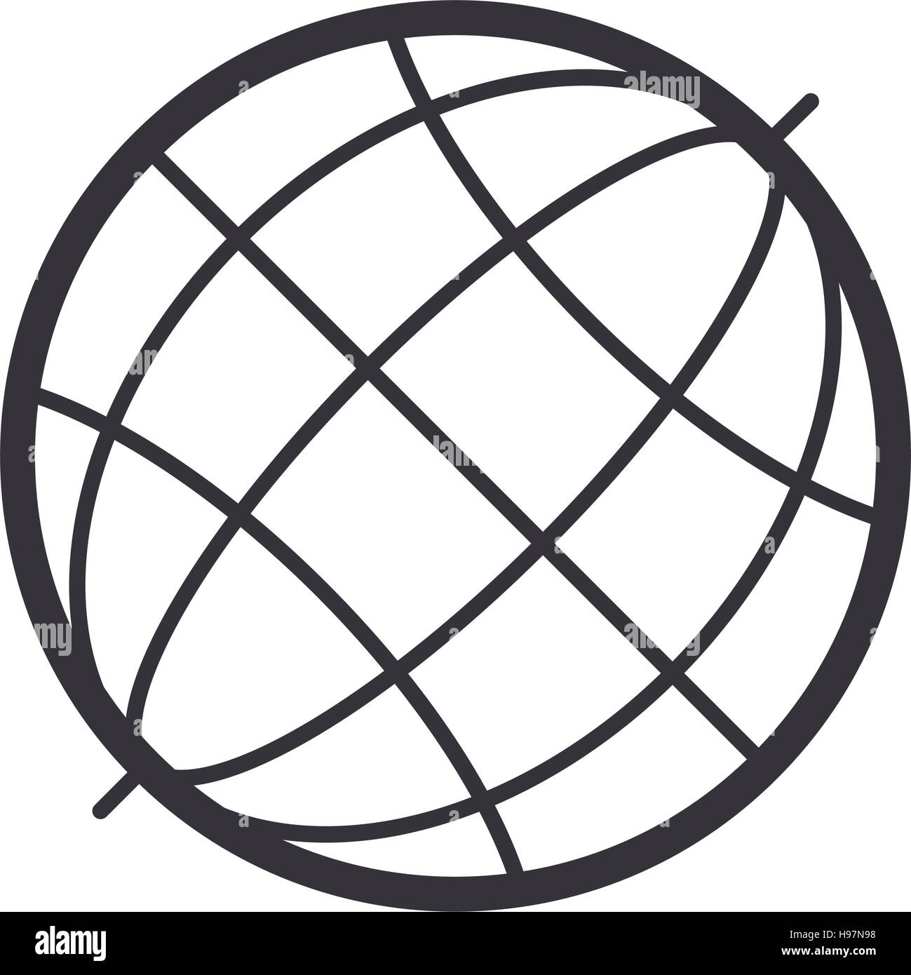 black silhouete sphere world map - Stock Image