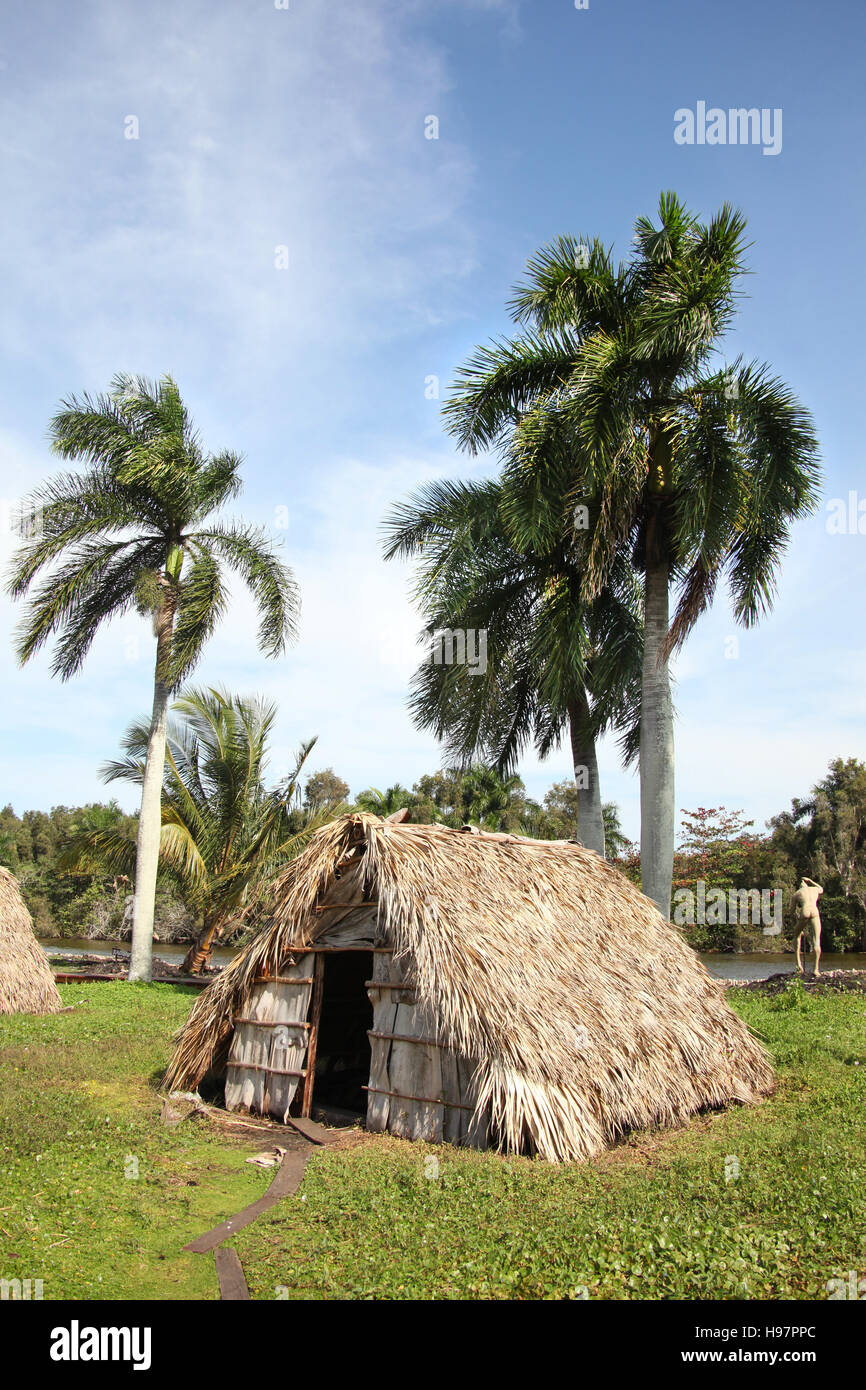 Beautiful landscape of small islands with traditional straw hut homes and palm trees, Guama, Cuba, Caribbean. - Stock Image