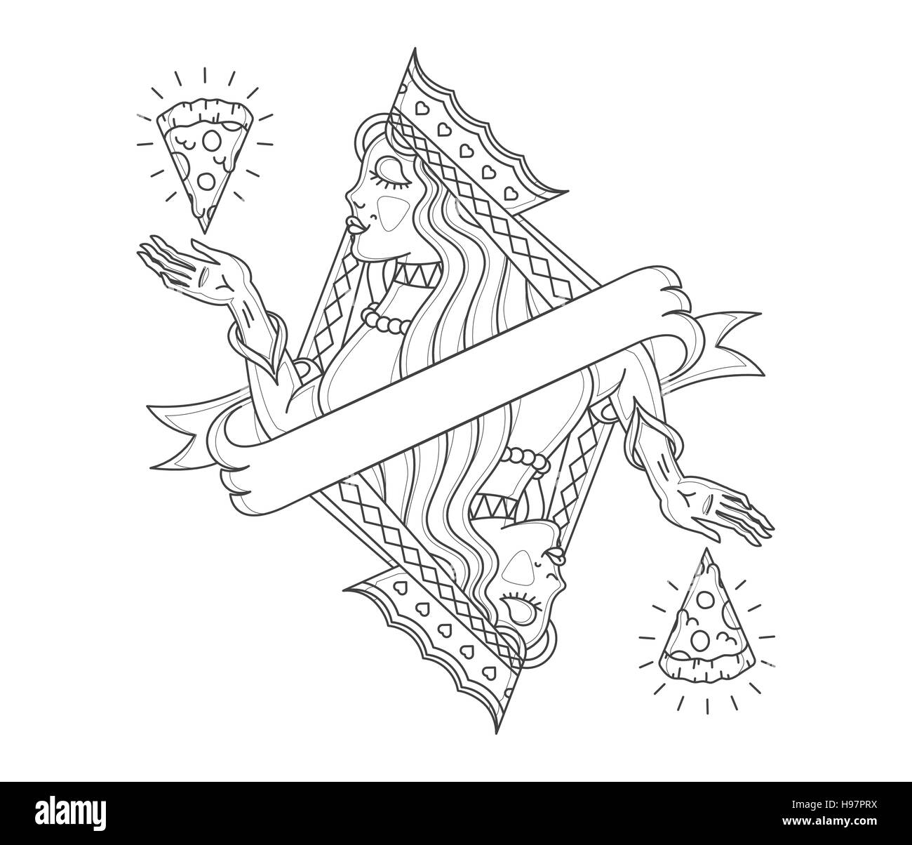 Cocept of a lady Queen contemplating pizza - Stock Vector