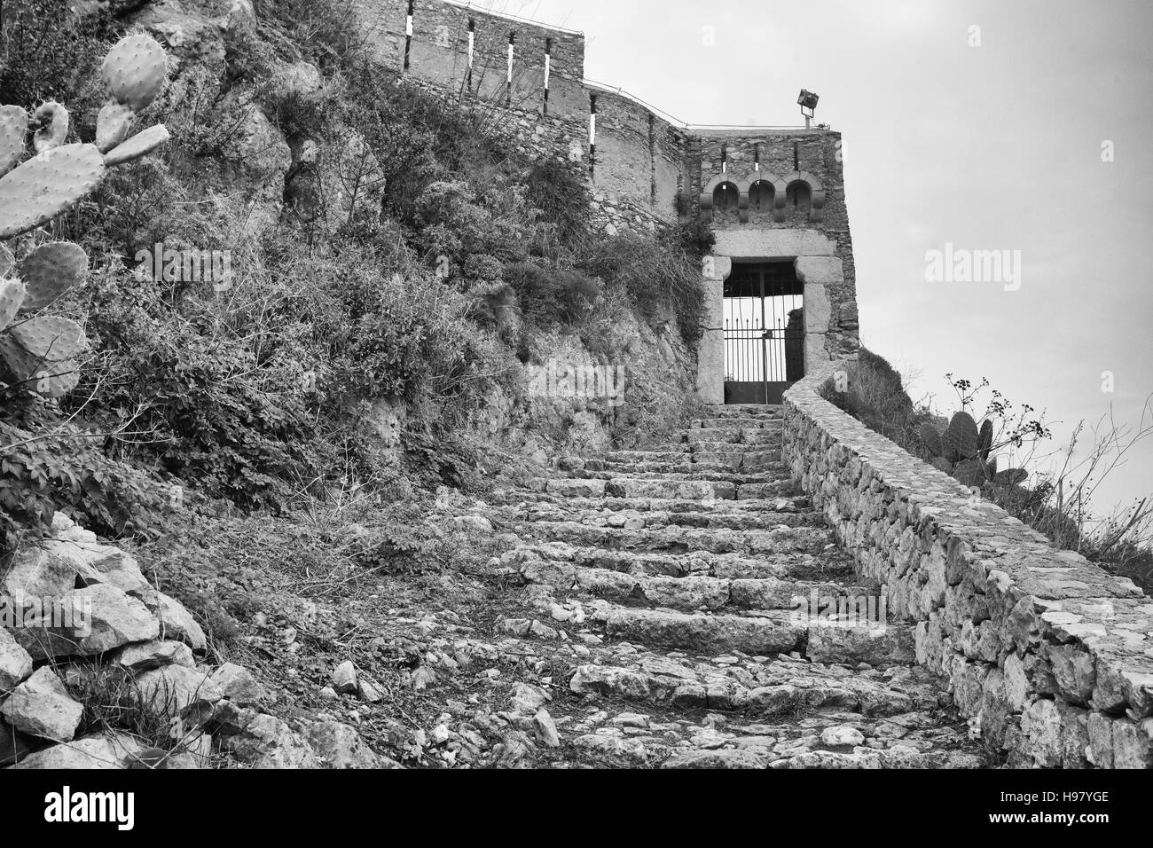 Medieval castle of Forza d'Agrò, Messina, Sicily - Stock Image