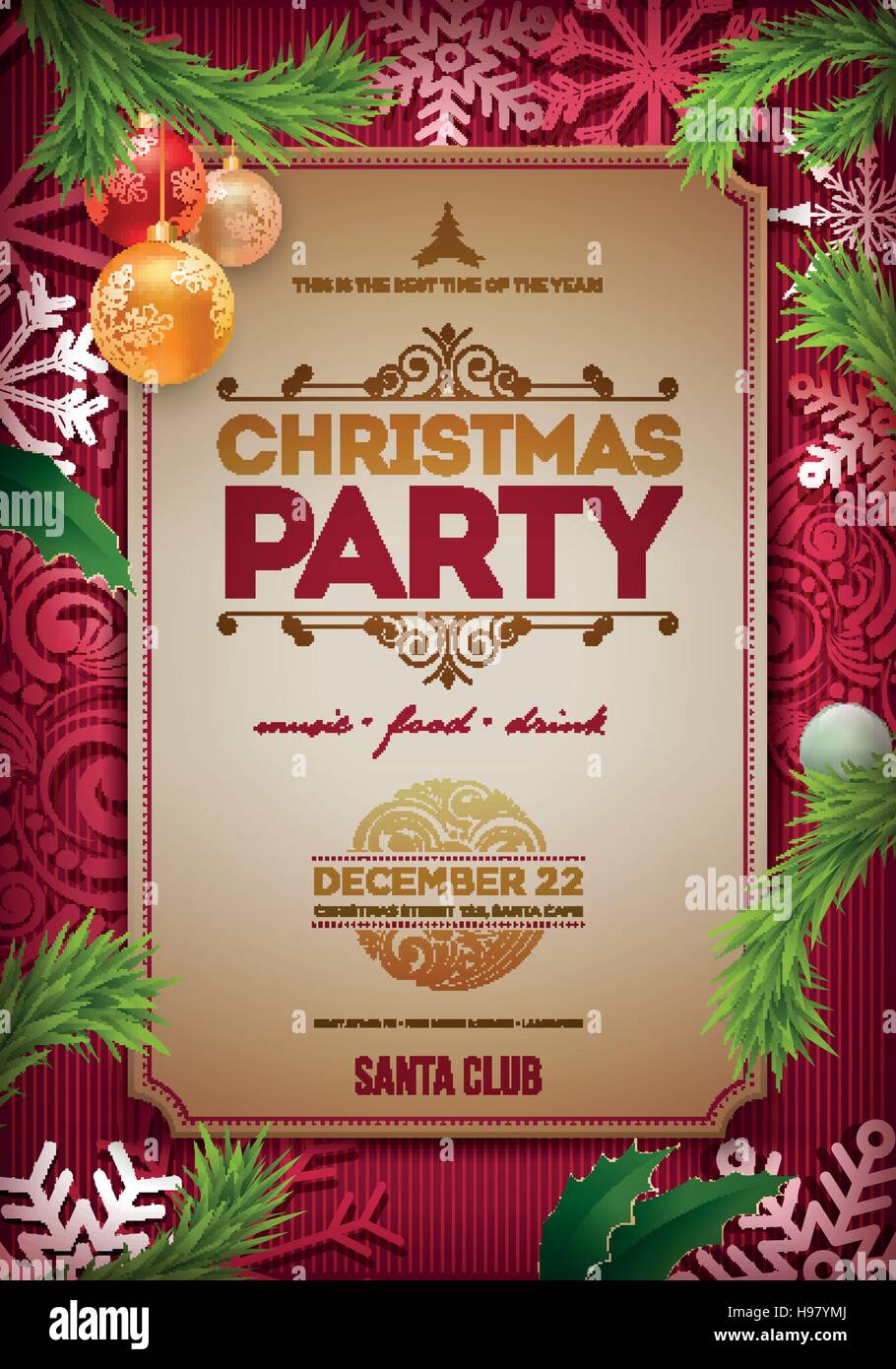 vector christmas party poster design template christmas related