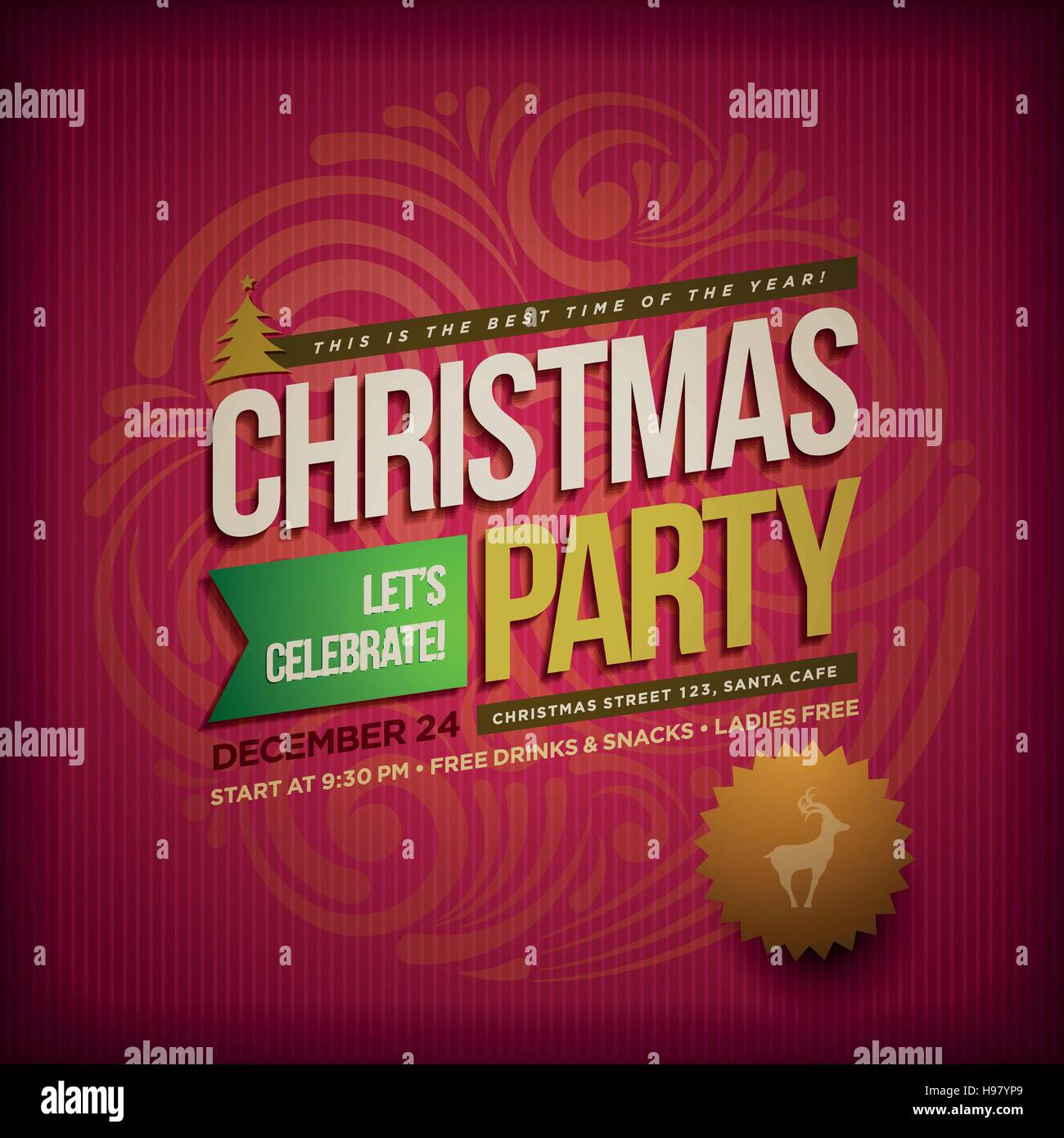 Vector Christmas Party poster design template. Christmas related ornaments objects on color background. Elements Stock Vector