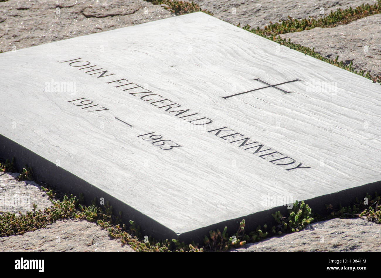 Headstone marks the grave of President John F. Kennedy at Arlington National Cemetery near Washington, DC. - Stock Image