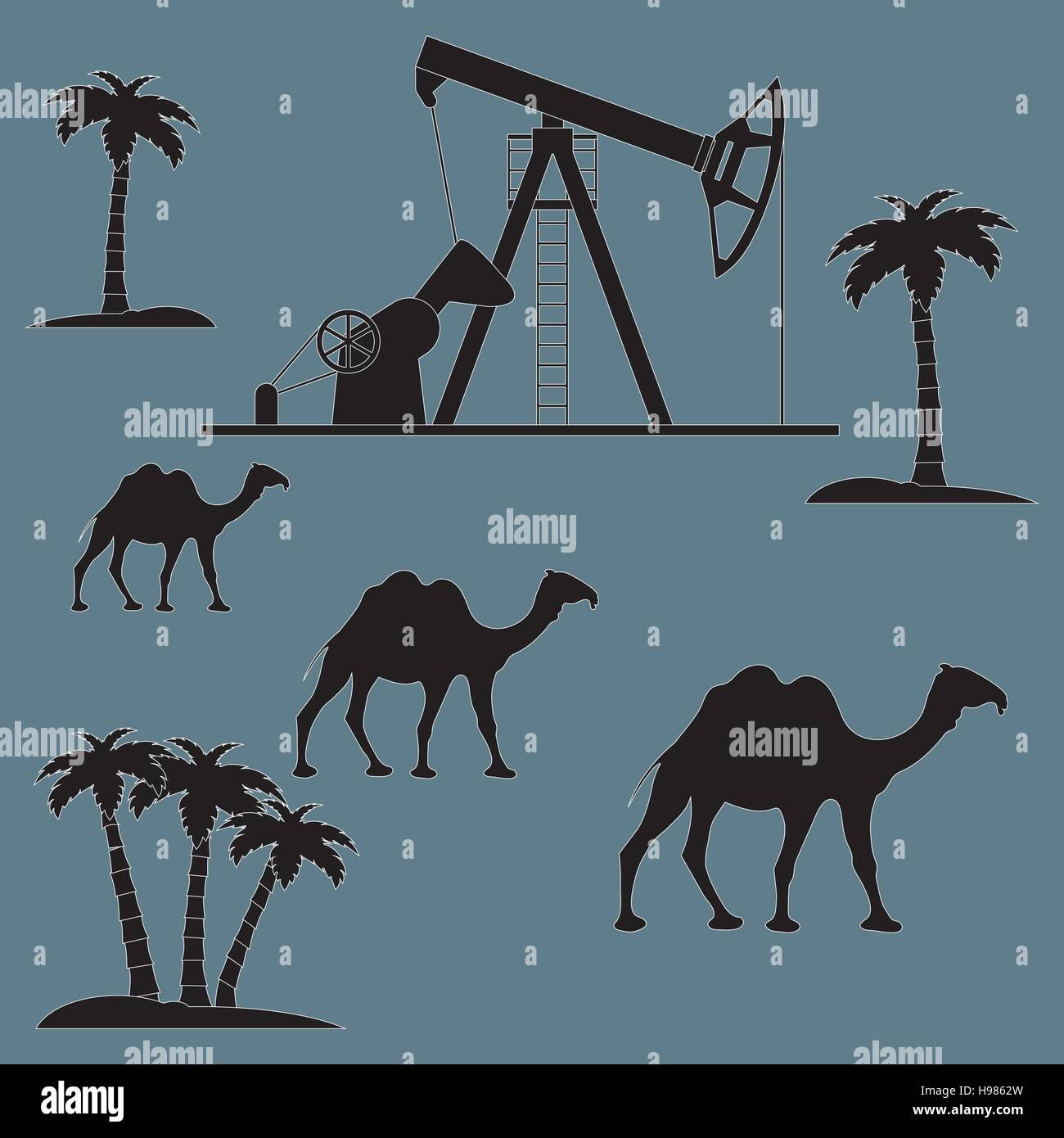 Stylized Icon Of The Equipment For Oil Production On A Color Background With Palm Trees And